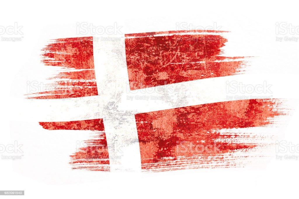 Pincel acuarela pintura de bandera Dinamarca soplado por el viento aislado sobre fondo blanco. - foto de stock