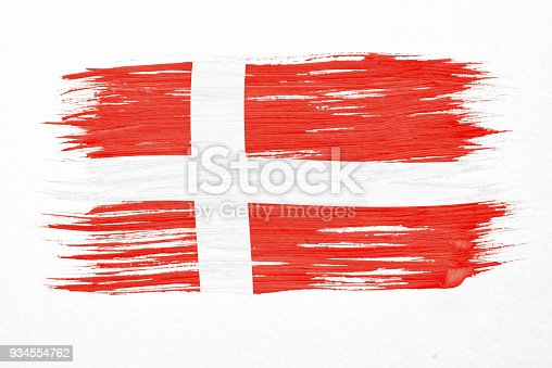 istock Art brush watercolor painting of Denmark flag blown in the wind isolated on white background. 934554762