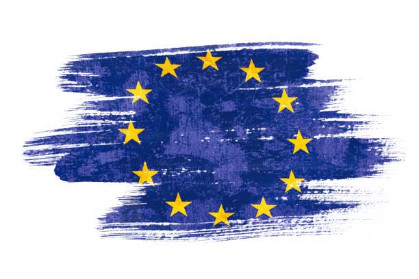 藝術刷水彩畫的歐盟國旗吹在風中隔絕在白色的背景上。 - 歐洲 個照片及圖片檔