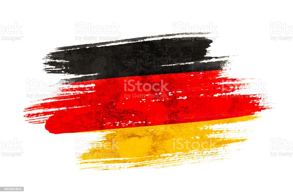 Art brush watercolor painting of Germany flag blown in the wind isolated on white background. stock photo
