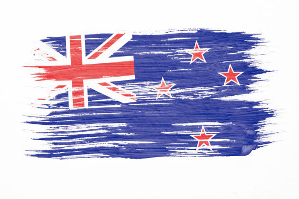 art brush watercolor painting of new zealand flag blown in the wind isolated on white background. - new zealand flag stock photos and pictures