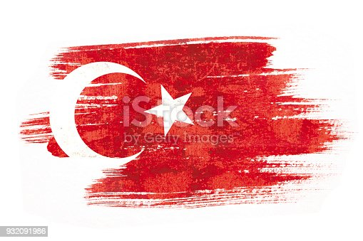 istock Art brush watercolor painting of Turkish flag blown in the wind isolated on white background. 932091986