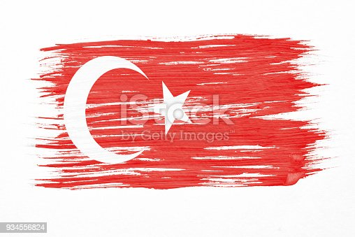 istock Art brush watercolor painting of Turkish flag blown in the wind isolated on white background. 934556824