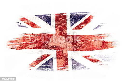 istock Art brush watercolor painting of UK flag blown in the wind isolated on white background. 932091984