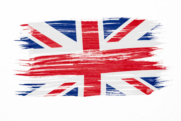 Art brush watercolor painting of UK flag blown in the wind isolated on white background. stock photo