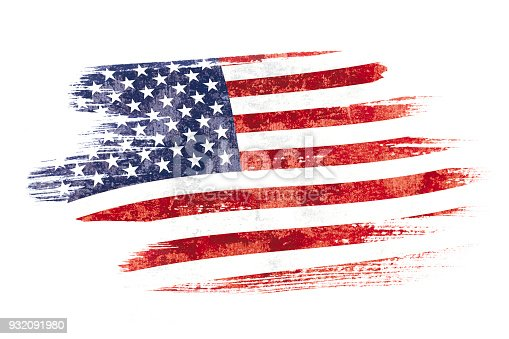 istock Art brush watercolor painting of USA flag blown in the wind isolated on white background. 932091980