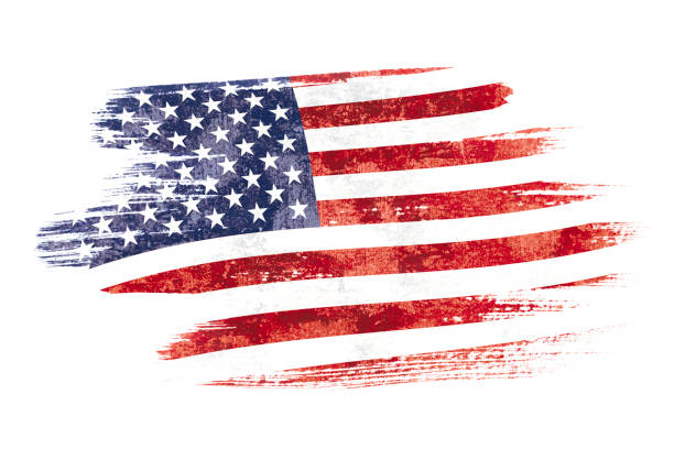 Art brush watercolor painting of USA flag blown in the wind isolated on white background. stock photo