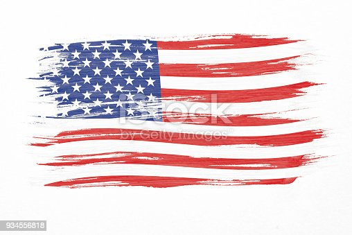 istock Art brush watercolor painting of USA flag blown in the wind isolated on white background. 934556818