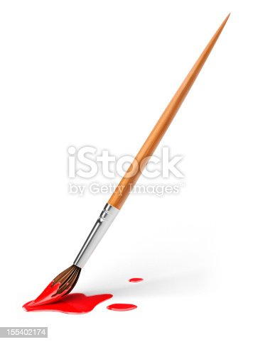 istock art brush with red paint 155402174