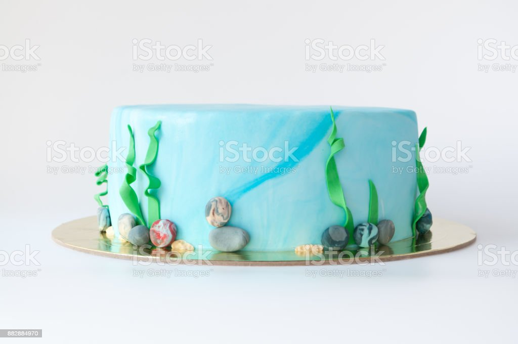 Art cake designed in the form of an underwater world with algae and pebbles. stock photo
