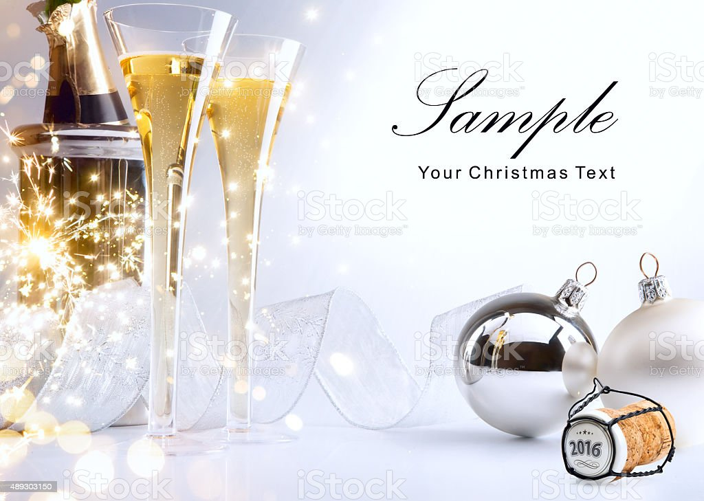 art Christmas or New Year's party invite stock photo