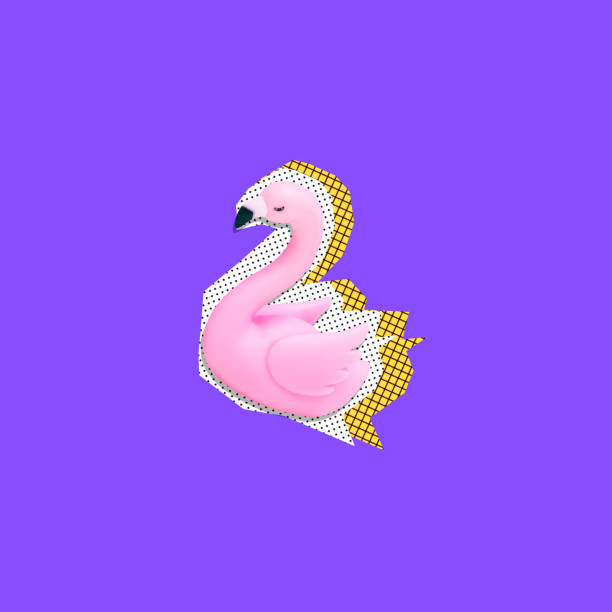Art collage of cutted plastic pink flamingo in memphis style on purple background