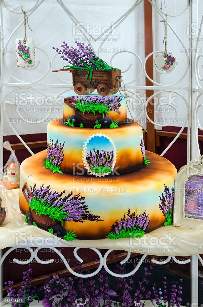 Art composition from sugar paste Lavender stock photo