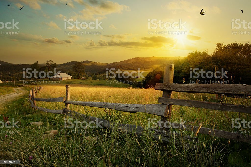 art countryside landscape; rural farm and farmland field photo libre de droits