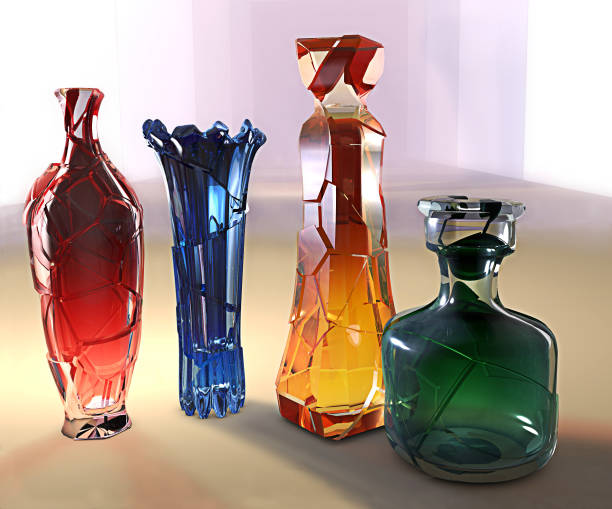 kunst kreativ 3d-illustration crystall glas farbige vase - glasskulpturen stock-fotos und bilder