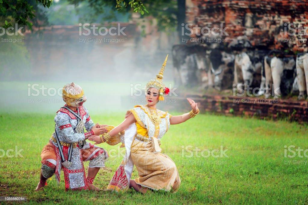 Kunst Kultur Thailand tanzen in maskierte Khon in Literatur Ramayana, Thai klassischen Affe maskiert, Khon, Thailand – Foto