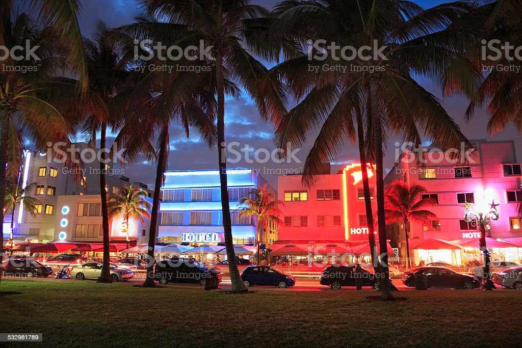 Art Deco and Ocean Drive in Miami Beach at night stock photo