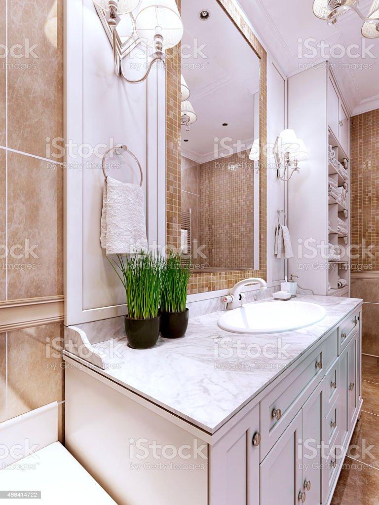 Art deco bathroom trend stock photo