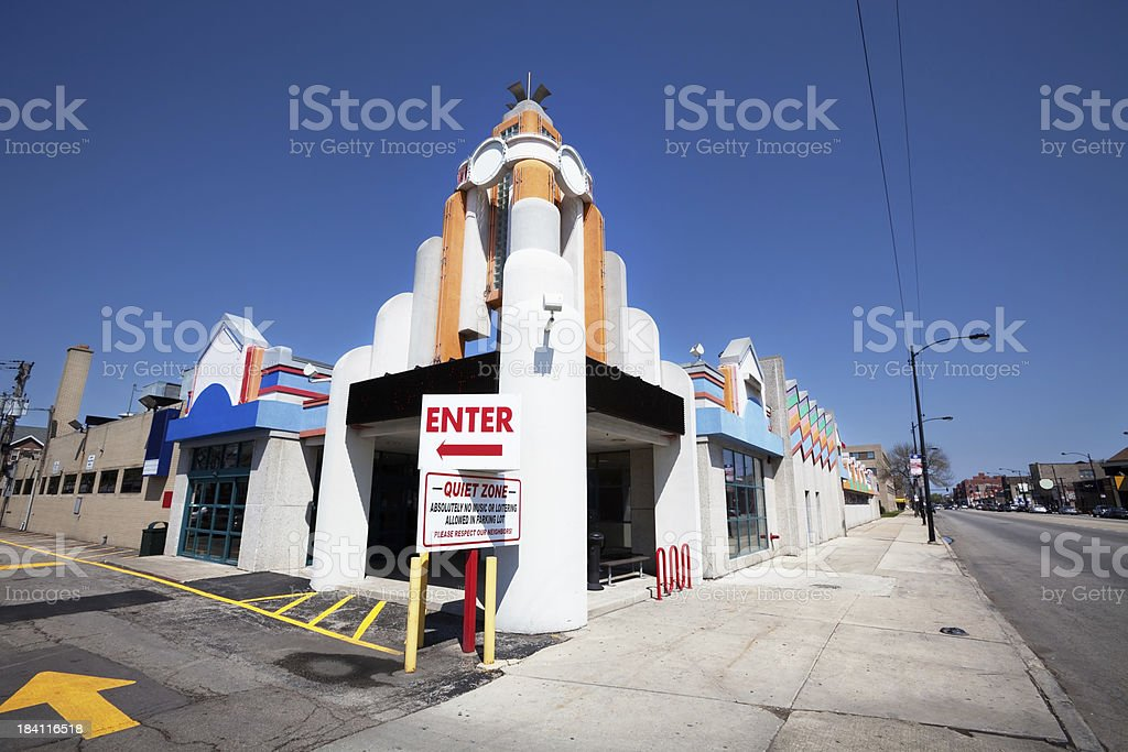 Art Deco Bowling Alley in Chicago royalty-free stock photo
