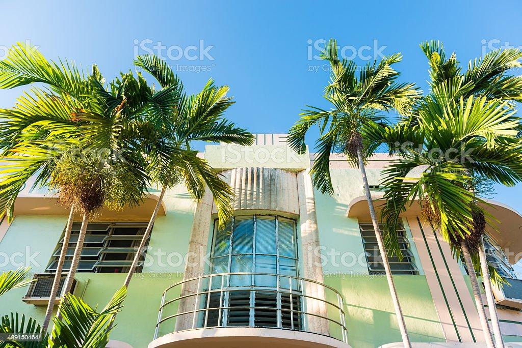 Art Deco building in Miami Beach stock photo