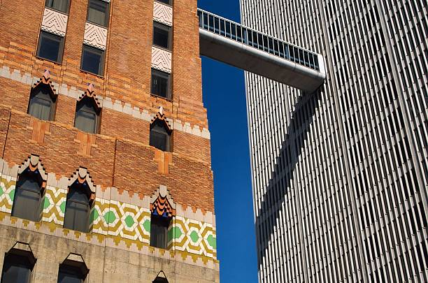 Art Deco Building next to Modern in Detroit stock photo