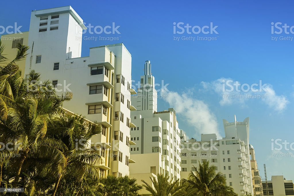 art deco buildings on miami beach travel destinations stock photo