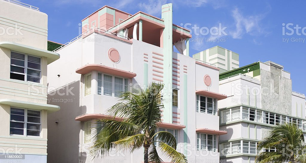 Art Deco buildings, South Beach bildbanksfoto