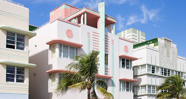 Art Deco buildings, South Beach stock photo