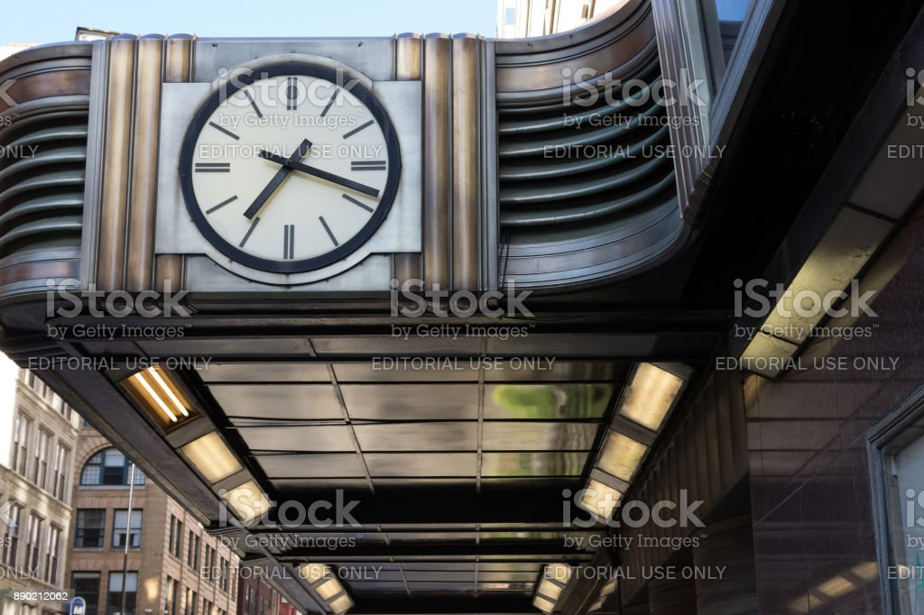 Art Deco clock face and awning over the sidewalk outside Shillito's department store stock photo
