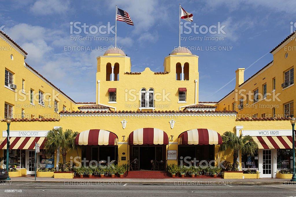Art Deco Colony Hotel in Delray Beach Florida stock photo