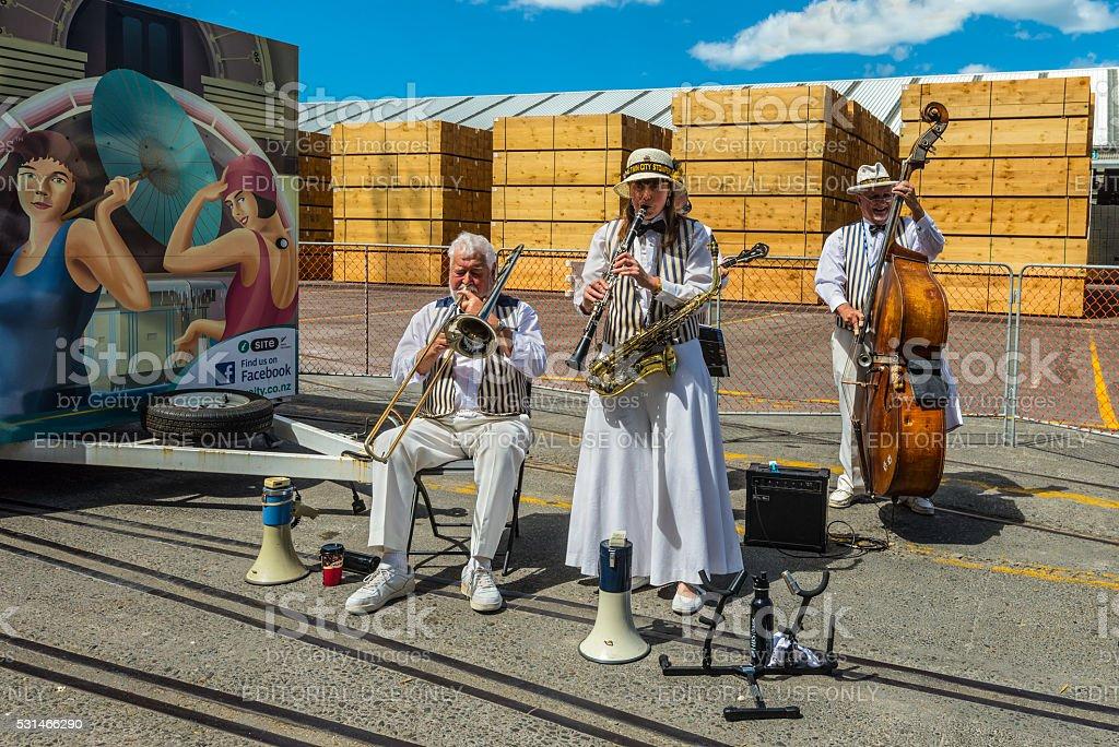 Art Deco Dixieland Jazz Band in Napier - New Zealand stock photo