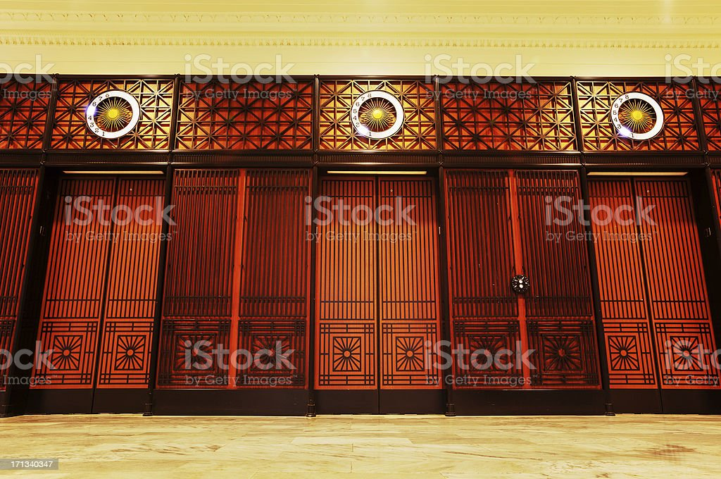 Art Deco Elevator Doors stock photo