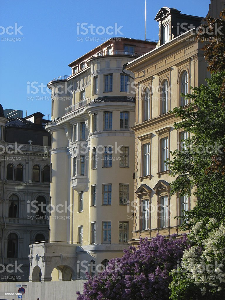 Art deco facades in Stockholm city (Sweden) royalty-free stock photo