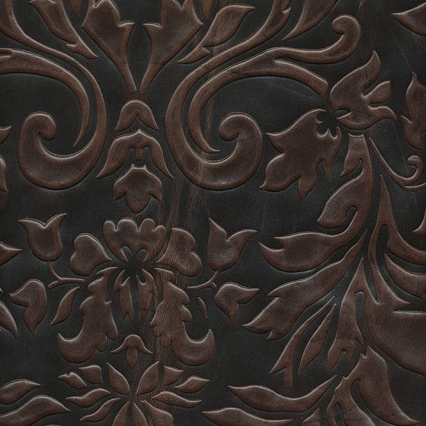 Art Deco floral pattern on leather stock photo