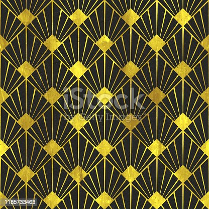 istock Art Deco Golden Age - Scales - Seamless Tile Pattern HD - 03 1185733463