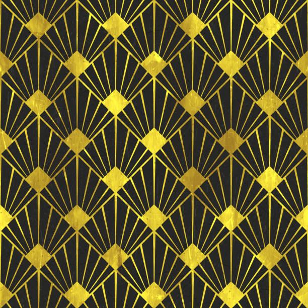 art déco golden age - échelles - seamless tile pattern hd - 03 - damas en matière textile photos et images de collection