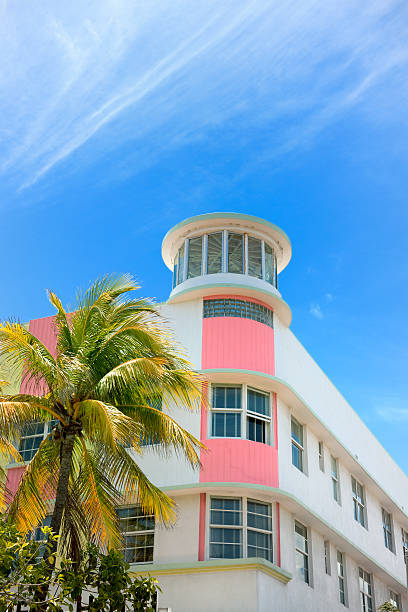 Art Deco hotel facade in Miami Florida USA stock photo