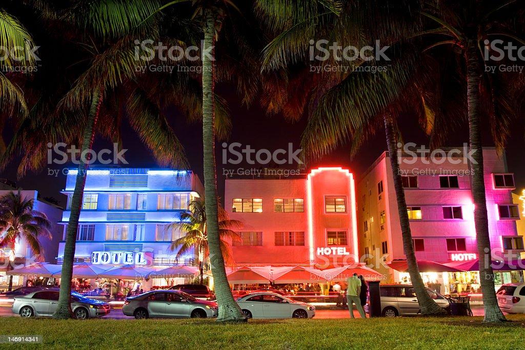 Art Deco hotels at night, Ocean Drive, Miami Beach royalty-free stock photo