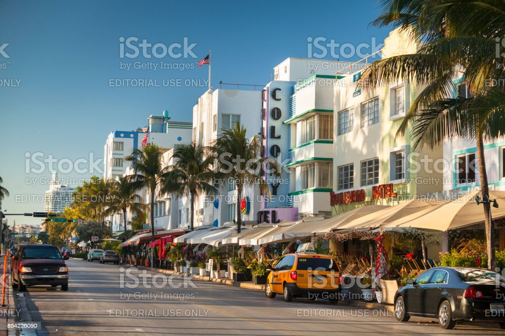 Art Deco hotels on Ocean Drive in South Beach Miami Florida USA stock photo