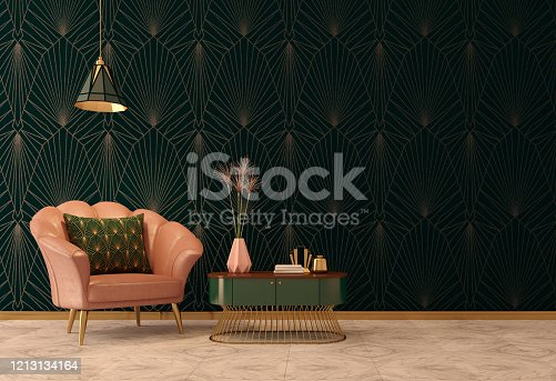 istock Art Deco interior in classic style with pink armchair and pillow.Vase on table.Dark green wall with ceiling lamp. 1213134164