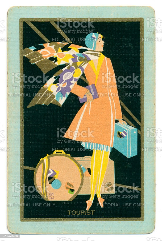 Art deco playing card back design tourist lady 1927 stock photo