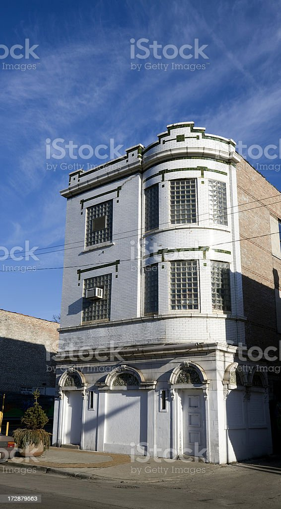Art Deco Shop in Chicago Neighborhood royalty-free stock photo