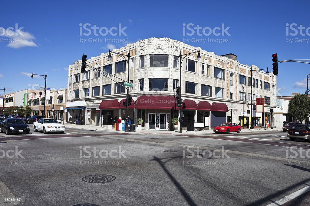 Art Deco Shops in Portage Park, Chicago royalty-free stock photo