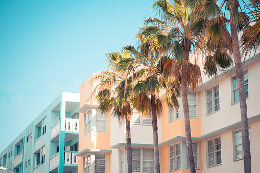 Typical example of Art Deco style architecture, South Beach Miami Florida