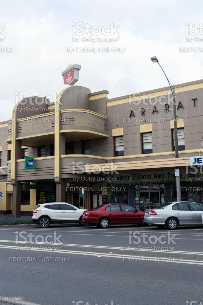 Art deco style Ararat Hotel in Ararat in western Victoria. stock photo