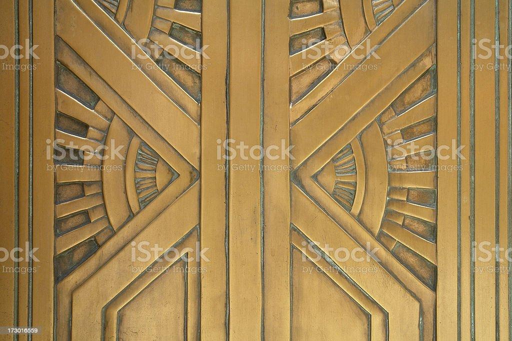 art deco style bronze door detail stock photo