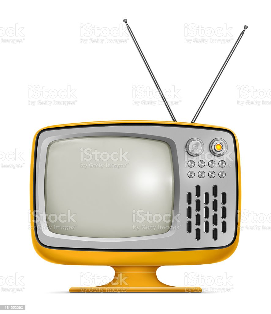 Art Deco style vintage television with yellow frames Stylish retro portable TV with blank screen. TV has a orange plastic body, metallic buttons and antenna. Isolated on white background. 1960-1969 Stock Photo
