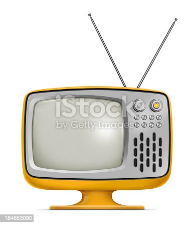 Stylish retro portable TV with blank screen. TV has a orange plastic body, metallic buttons and antenna. Isolated on white background.