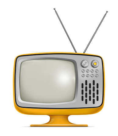 Art Deco Style Vintage Television With Yellow Frames Stock Photo - Download Image Now