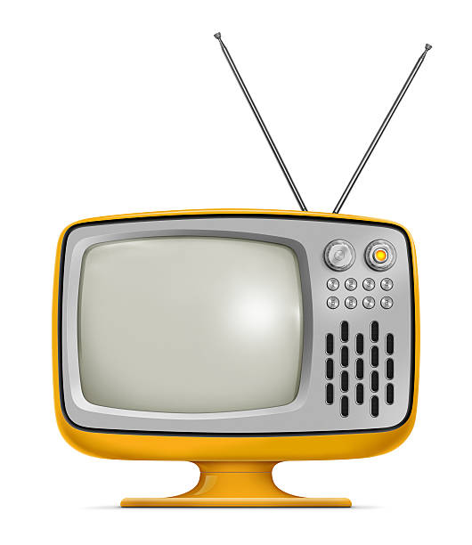 Art Deco style vintage television with yellow frames Stylish retro portable TV with blank screen. TV has a orange plastic body, metallic buttons and antenna. Isolated on white background. portable television stock pictures, royalty-free photos & images